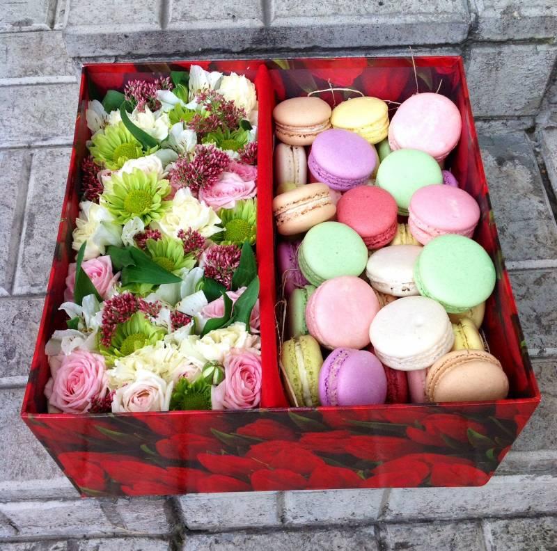 Подарок с макаронами и цветами 62