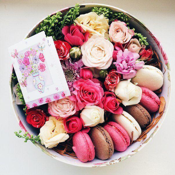 Макаруны с цветами доставка
